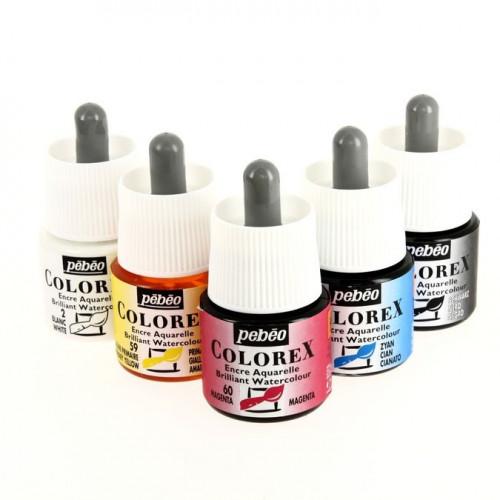 5 encres aquarelle Colorex 45 ml + 1 marqueur Drawing Gum