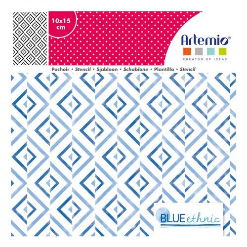 Pochoir Blue Ethnic motif Fond Losanges - 10 x 15 cm