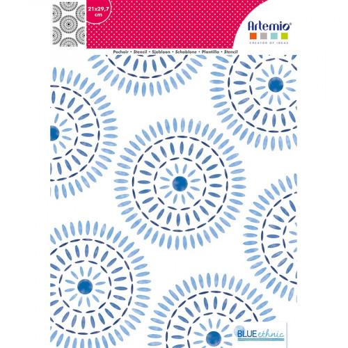 Pochoir Blue Ethnic motif Rosaces - A4