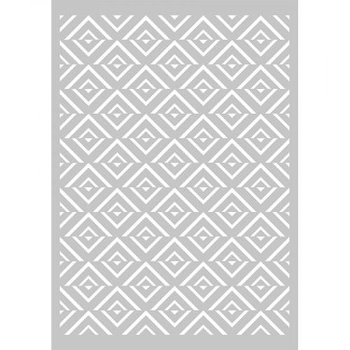 Pochoir Blue Ethnic motif Fond Losanges - A4