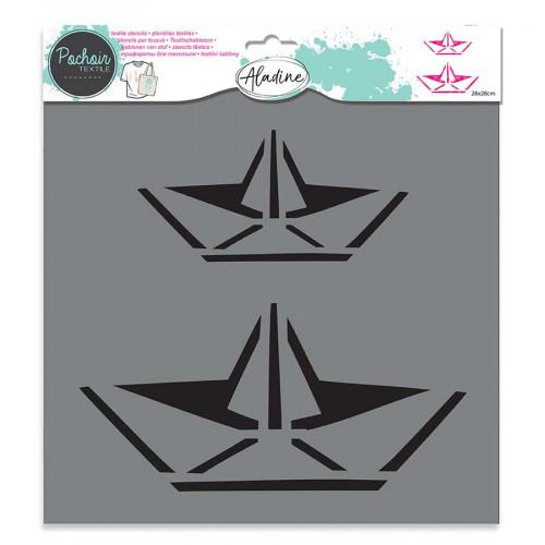 Pochoir textile Bateau Origami - 28 x 28 cm
