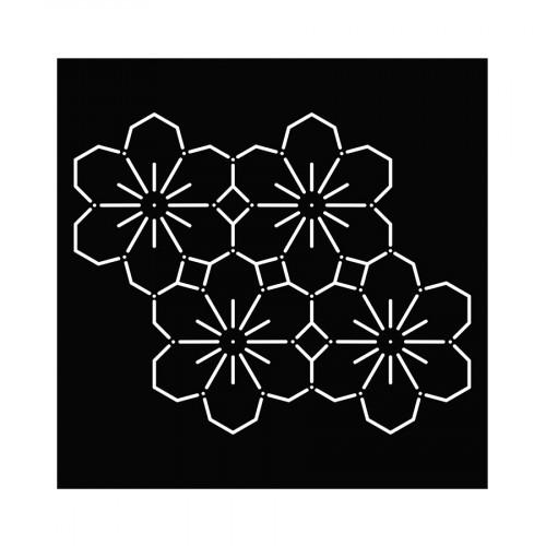 Pochoir Sashiko Fleurs - 15 x 15 cm