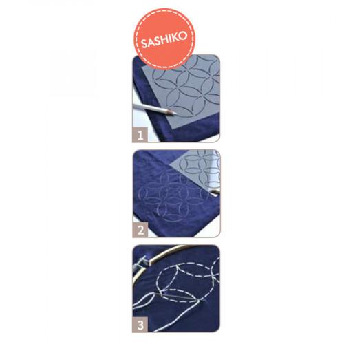 Pochoir Sashiko Eventails - 15 x 15 cm