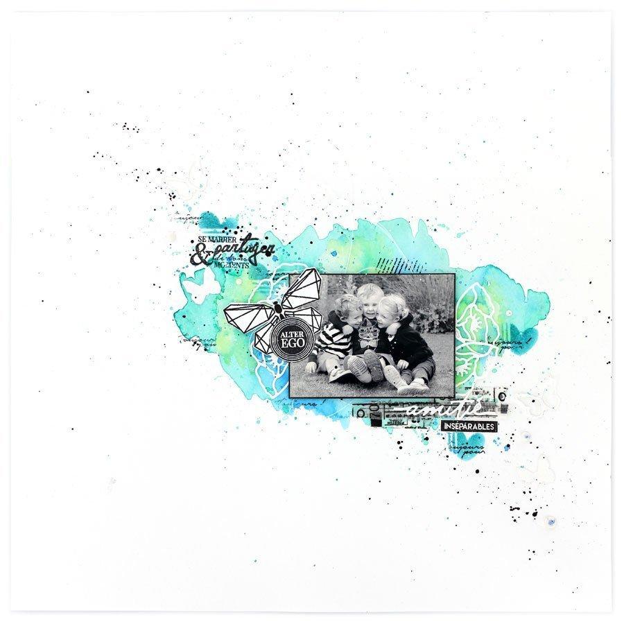 Capsule Août 2017 - Pochoir  - Mon petit cœur - 12 x 12 cm