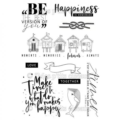 Embruns Lot de 10 tampons transparents Happiness