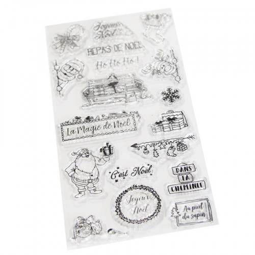 Set de 18 tampons transparents Joyeux Noël