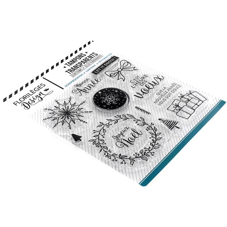 Set de 13 tampons transparents Vœux enneigés