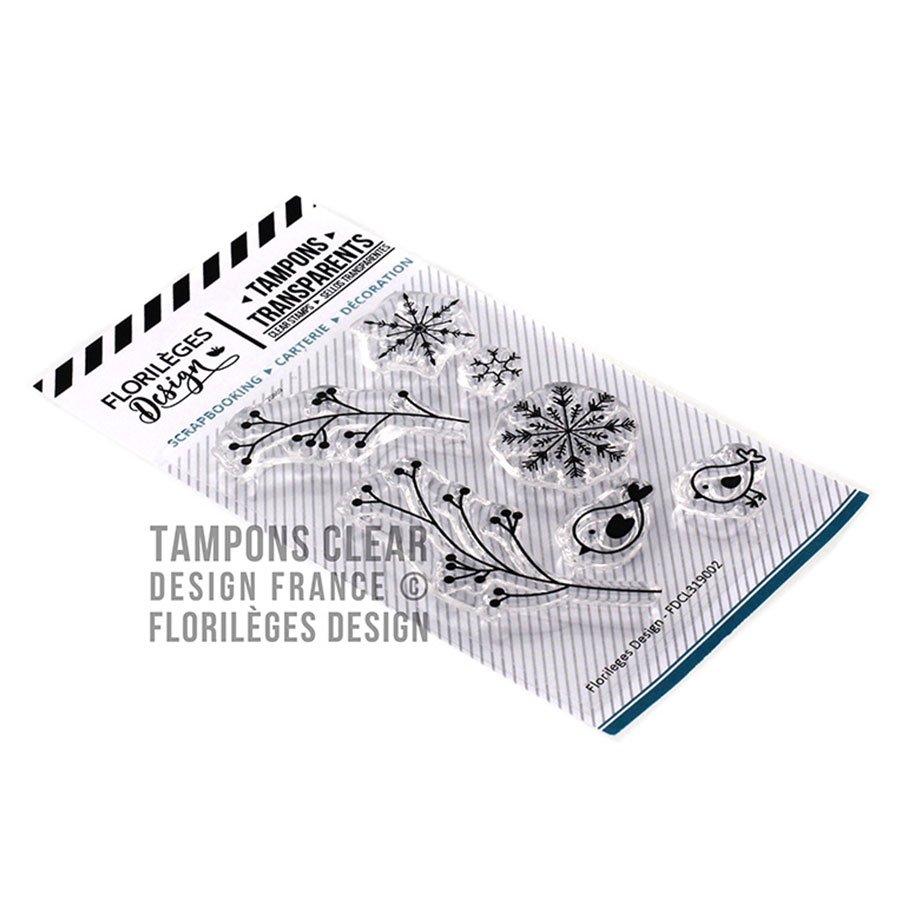 Set de 7 tampons transparents Feuillages d'hiver