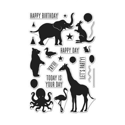 Birthday Animal Silhouettes - Set de tampons clear Animaux en fête
