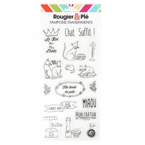 Set de 16 tampons transparents Chat suffit !
