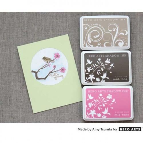 Color Layering - Set de tampons clear Oiseaux et fleurs