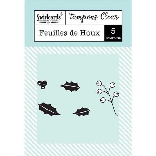 Tampons Clear - Feuilles de houx - 5 pcs