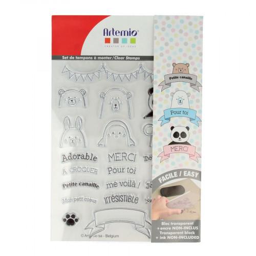 Set de tampons Clear - Adorable - 22 pcs