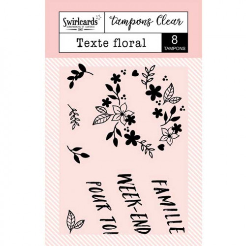 Tampons Clear - Texte floral - 8 pcs