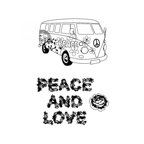 Set de 5 tampons transparents Peace & Love
