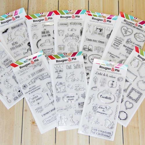 Set de 19 tampons transparents Cousu avec amour