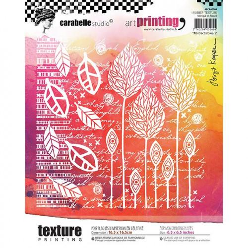 Tampon texture carré pour Gel Press : Abstract Flowers - 16,5 x 16,5 cm
