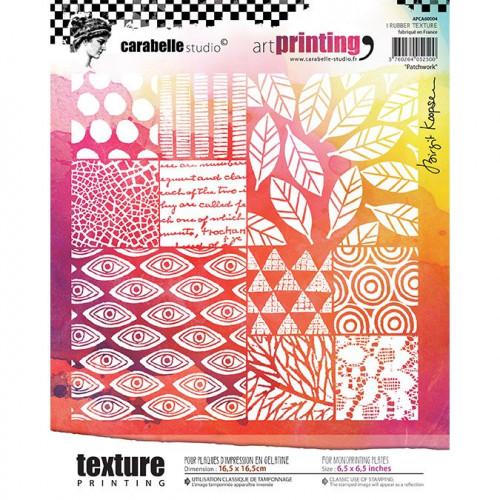 Tampon texture carré pour Gel Press : Patchwork - 16,5 x 16,5 cm