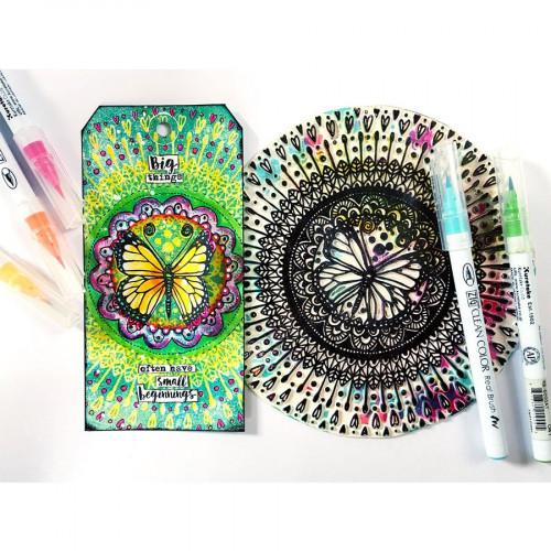 Tampon texture rond Butterfly Mandala - 16,5 cm