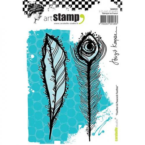 Tampons Cling - Plume et plume de paon - 2 pcs