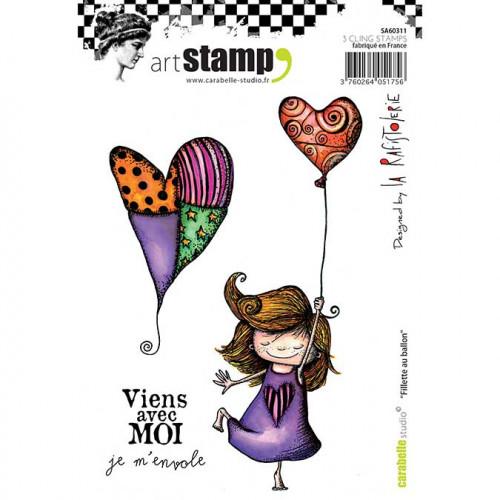 Tampons Cling - Fillette au Ballon - 3 pcs