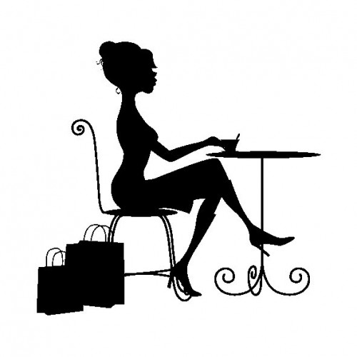 Tampon bois  - Tea Time - Fashionista - 5 x 5 cm