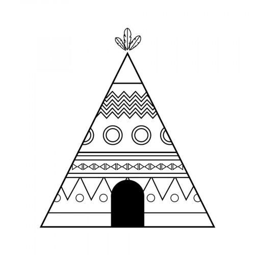 Tampon bois - Totem - Tipi - 5 x 6