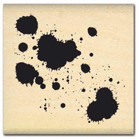 Tampon bois - Tâches - 4,5 x 4,5 cm