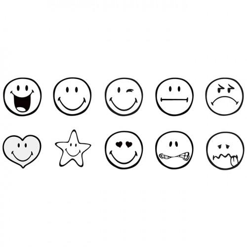 Tampons pré-encrés Smiley - 10 pcs