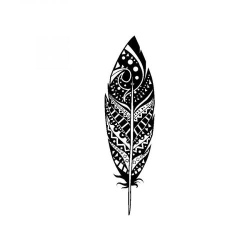 Tampon bois  - Plume déco - Flower Power - 2,6 x 7,5 cm