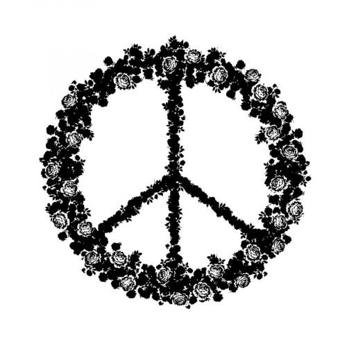Tampon bois  - Peace & Love - Flower Power - 5,8 x 6 cm