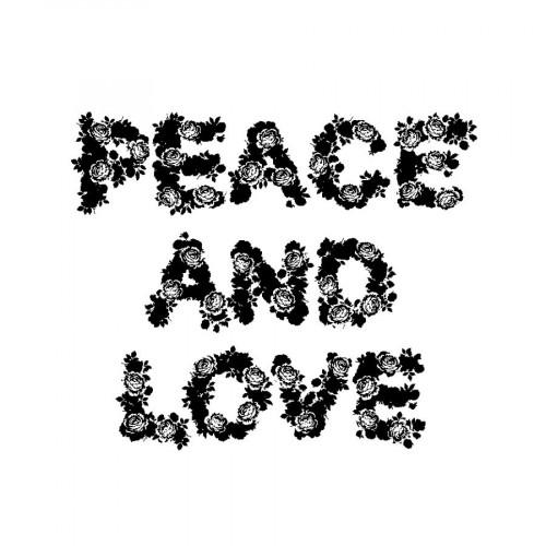 Tampon bois  - Peace & Love - Flower Power - 5,8 x 7 cm