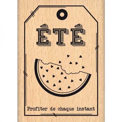 Evasion estivale - Tampon Bois - Petite pastèque - 5 x 7 cm