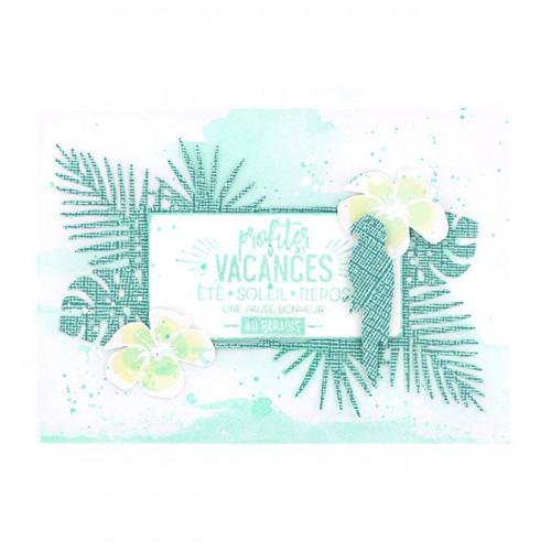 Capsule Juillet 2017 - Tampon Bois - Pause au paradis - 5 x 7 cm
