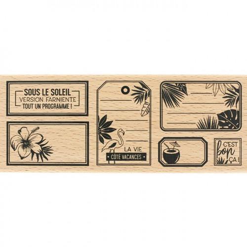 Capsule Juillet 2017 - Tampon Bois - Etiquettes tropicales - 6 x 15 cm