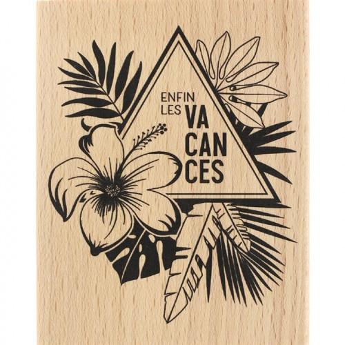 Capsule Juillet 2017 - Tampon Bois - Enfin les vacances - 8 x 10 cm