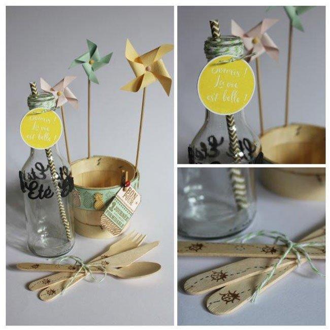 Capsule Juin 2016 - Tampon Bois - Bordure Ananas - 3 x 10 cm