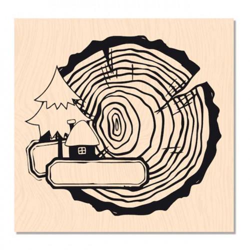Douceur Hivernale - Tampon bois P'tit rondin - 6 x 6 cm