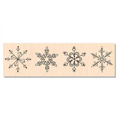 Douceur Hivernale - Tampon bois Flocons - 15 x 4 cm