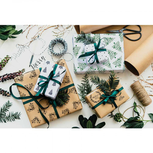 Tampon bois Sapin Merry Christmas