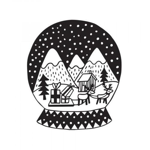 Tampon bois Boule à neige Montagnes