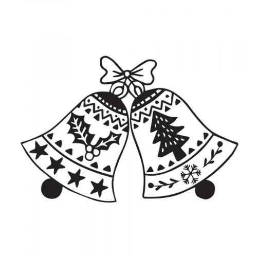 Tampon bois Cloches de Noël