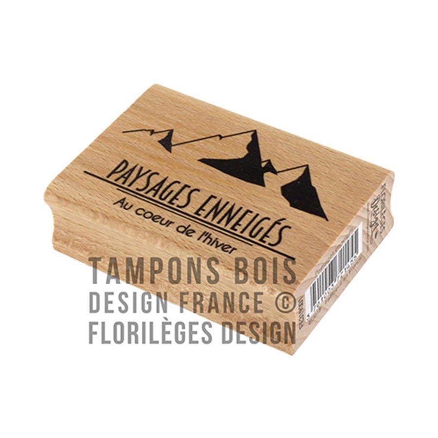 Tampon bois Paysages enneigés - 7 x 5 cm