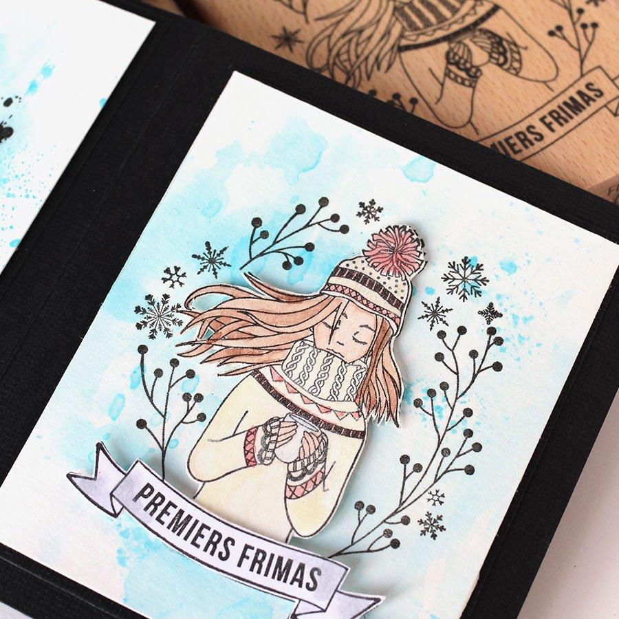 Tampon bois Premiers Frimas - 8 x 10 cm