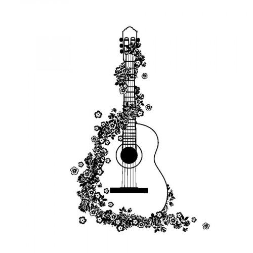 Tampon bois - Guitare - 5 x 7 cm