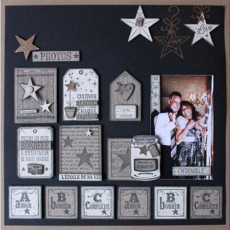 Plus près des étoiles - Tampon bois - Réserve de bonheur - 6,5 x 4,5 cm