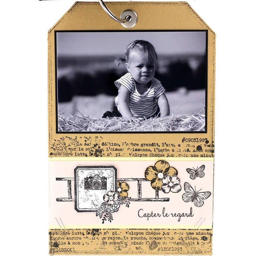 Tampon bois Echelle fleurie - 7 x 10 cm