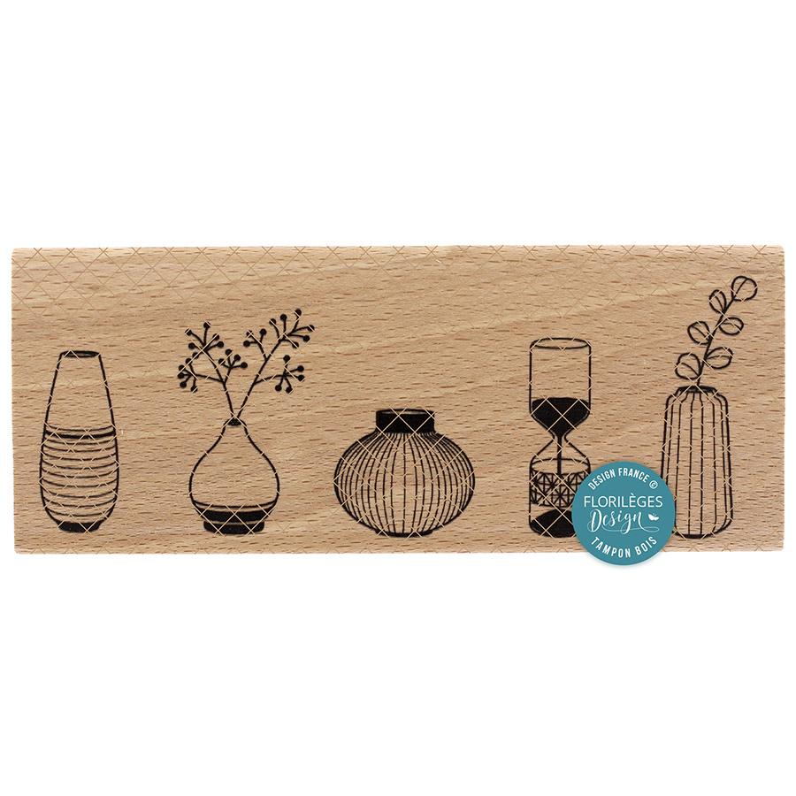 Tampon bois 4 vases - 15 x 6 cm