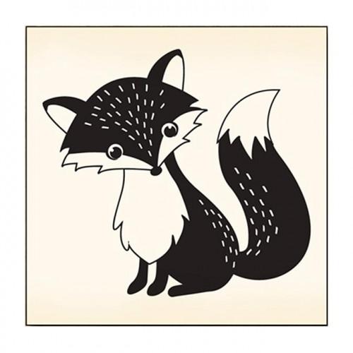 Tampon bois - Renard - 6 x 6 cm