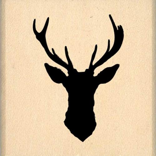 Dakota Valley - Tampon Bois - Cerf silhouette - 4 x 4 cm